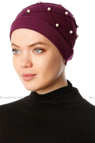 Yaren - Plomme Crepe Chiffon Turban - Sehr-i Sal